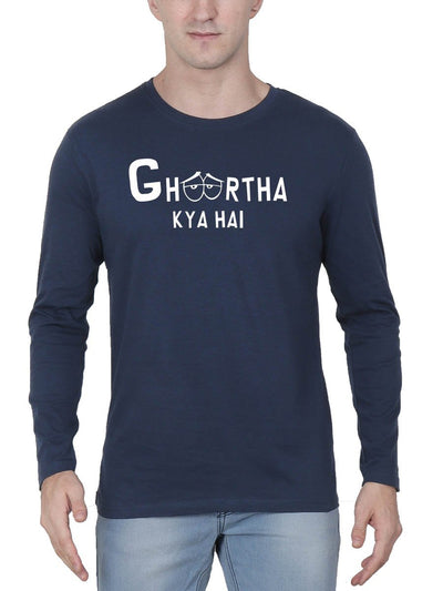 Ghoortha Kya Hai Men's Navy Blue Full Sleeve Hindi Movie Round Neck T-Shirt - DrunkenMonk