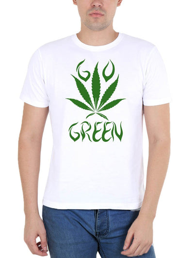 Go Green Weed Men's White Round Neck T-Shirt - DrunkenMonk
