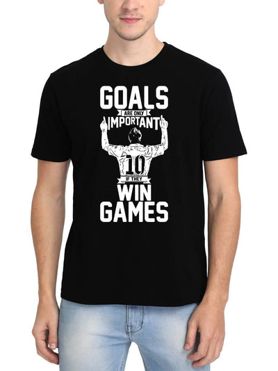 Goals Are Only Important If They Win Games Lionel Messi Men's Black Round Neck T-Shirt - DrunkenMonk