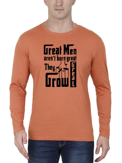 Great Men Aren't Born Great They Grow Great - The Godfather Men's Saffron Full Sleeve Round Neck T-Shirt - DrunkenMonk