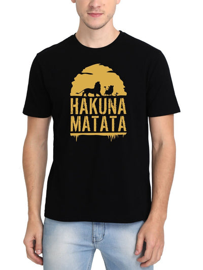 Hakuna Matata - The Lion King Men's Black Half Sleeve Round Neck T-Shirt - DrunkenMonk