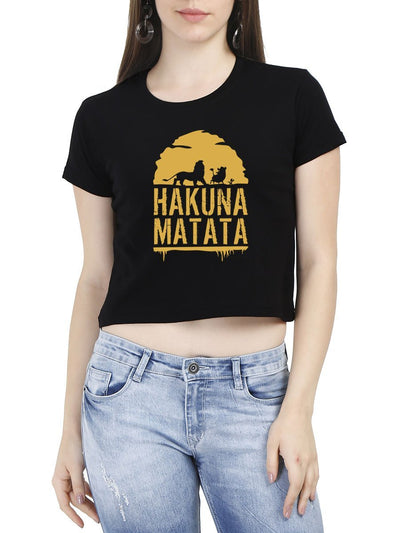 Hakuna Matata - The Lion King Women's Black Half Sleeve Crop Top - DrunkenMonk
