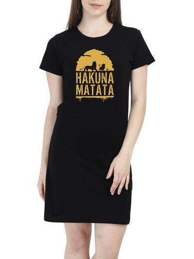 Hakuna Matata - The Lion King Women's Black Half Sleeve T-Shirt Dress - DrunkenMonk