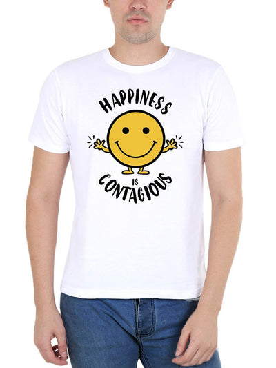 Happiness is Contagious Men's White Round Neck T-Shirt - DrunkenMonk