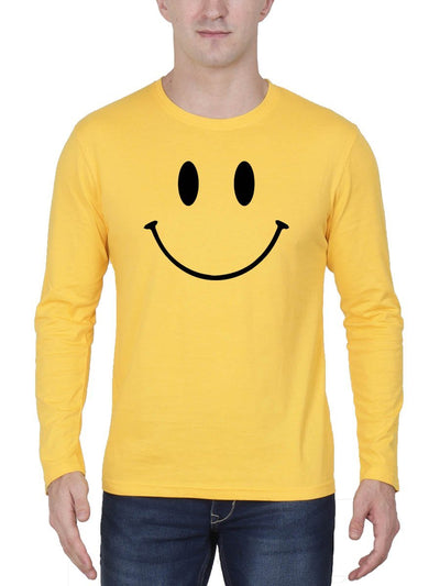 Happy Smiley Men's Yellow Full Sleeve Round Neck T-Shirt - DrunkenMonk