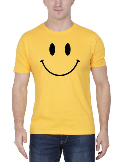 Happy Smiley Men's Yellow Half Sleeve Round Neck T-Shirt - DrunkenMonk
