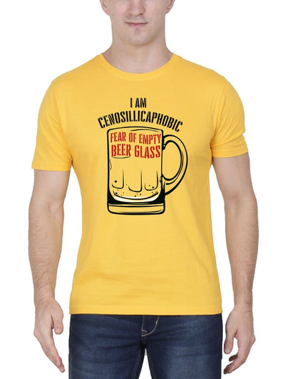 I Am Cenosillicaphobic Fear Of Empty Beer Glass Men's Yellow Half Sleeve Round Neck T-Shirt - DrunkenMonk