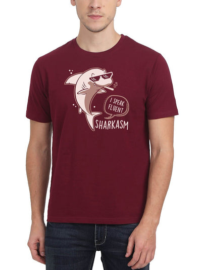 I Speak Fluent Sharkasm Men's Maroon Half Sleeve Round Neck T-Shirt - DrunkenMonk