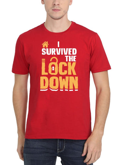 I Survived The Lockdown Men's Red Round Neck - DrunkenMonk