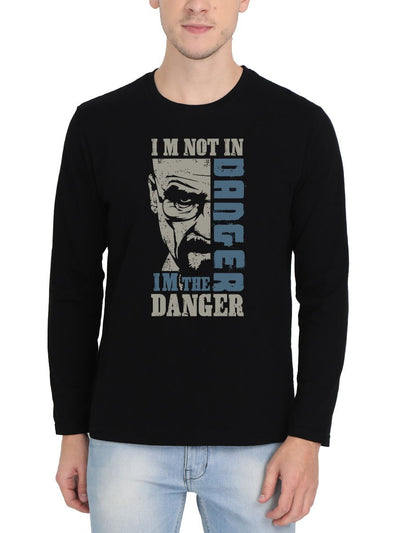 I'm Not In Danger I'm The Danger - Breaking Bad Men's Black Full Sleeve Round Neck T-Shirt - DrunkenMonk