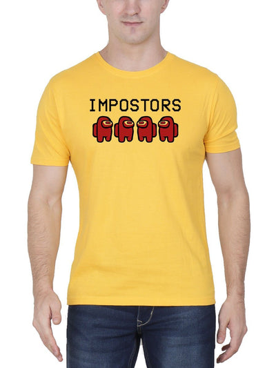 Impostors - Among Us Men's Yellow Half Sleeve Round Neck T-Shirt - DrunkenMonk