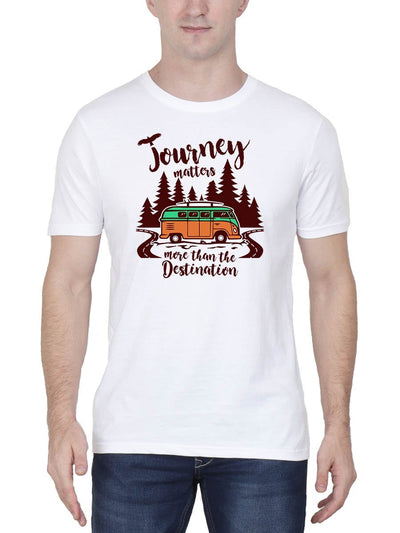 Journey Matters More Than The Destination Men's White Half Sleeve Round Neck T-Shirt - DrunkenMonk