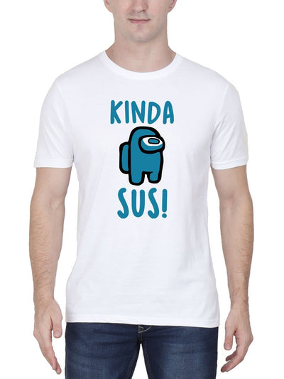 Kinda Sus Imposter - Among Us Men's White Half Sleeve Round Neck T-Shirt - DrunkenMonk