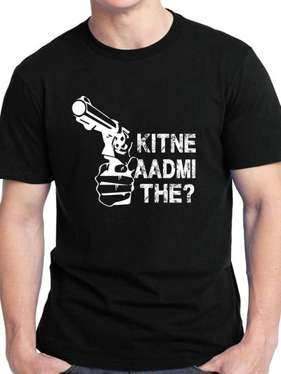 Kitne Aadmi The Men's Black Half Sleeve Hindi Movie Round Neck T-Shirt - DrunkenMonk