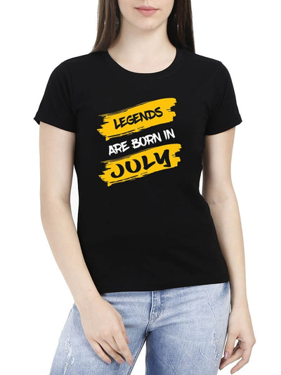 Legends Are Born In July Brush Stroke Women's Black Birthday Month Gifting Round Neck T-Shirt - DrunkenMonk