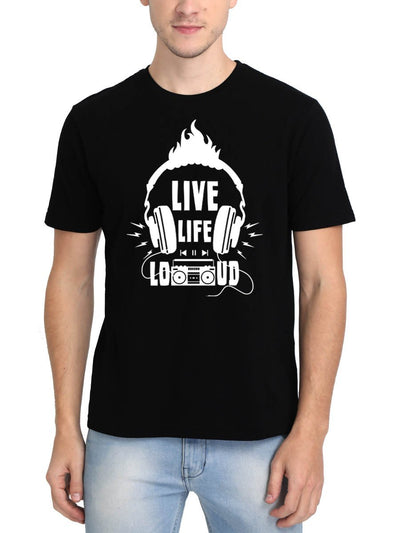 Live Life Loud Men's Black Round Neck T-Shirt - DrunkenMonk