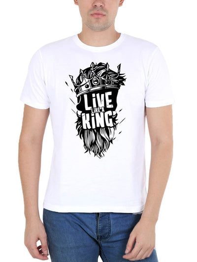 Live Like A King Men's White Round Neck T-Shirt - DrunkenMonk