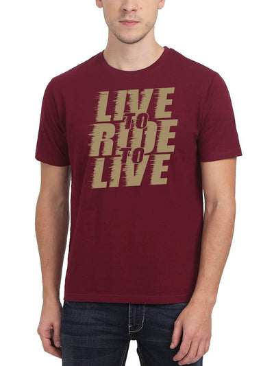 Live Ride Live Bike Men's Maroon Round Neck T-Shirt - DrunkenMonk