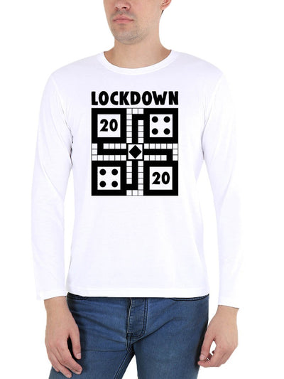 Lockdown 2020 Ludo Men's White Full Sleeve Round Neck T-Shirt - DrunkenMonk