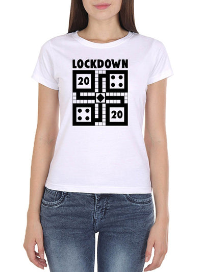 Lockdown 2020 Ludo Women's White Round Neck T-Shirt - DrunkenMonk