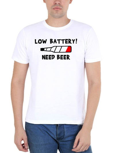 Low Battery Need Beer Men's White Round Neck T-Shirt - DrunkenMonk