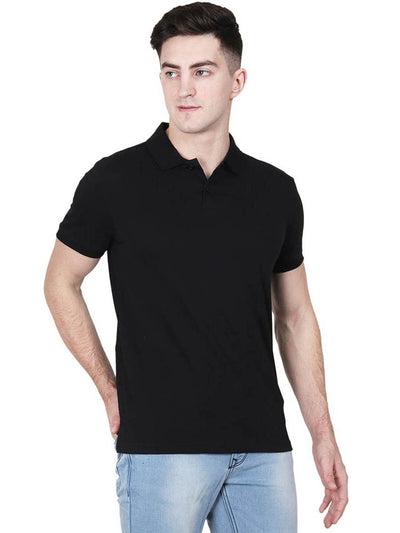 Men's Black Plain Half Sleeve Polo Collared T-Shirt - DrunkenMonk