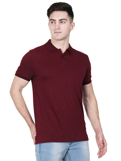 Men's Maroon Plain Half Sleeve Polo Collared T-Shirt - DrunkenMonk