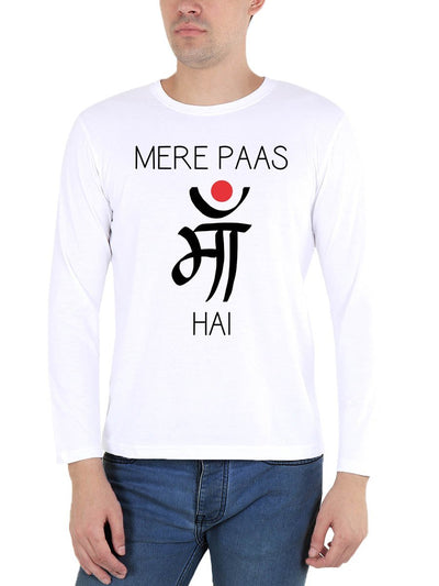 Mere Paas Maa Hai Men's White Full Sleeve Hindi Movie Round Neck T-Shirt - DrunkenMonk