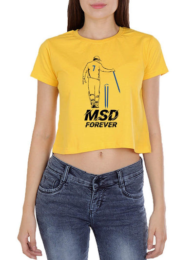 MSD Forever Women's Yellow Half Sleeve Crop Top - DrunkenMonk