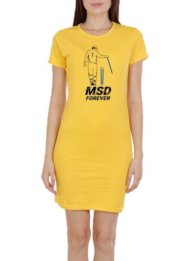 MSD Forever Women's Yellow Half Sleeve T-Shirt Dress - DrunkenMonk