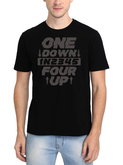 One Down Four Up Men's Black Round Neck T-Shirt - DrunkenMonk