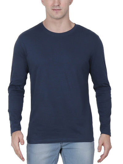 Plain Men's Navy Blue Full Sleeve Round Neck T-Shirt - DrunkenMonk