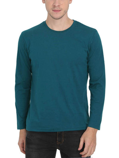 Plain Men's Petrol Full Sleeve Round Neck T-Shirt - DrunkenMonk