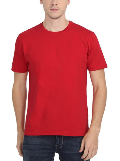 Plain Men's Red Half Sleeve Round Neck T-Shirt - DrunkenMonk