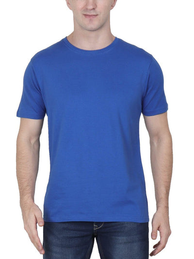 Plain Men's Royal Blue Half Sleeve Round Neck T-Shirt - DrunkenMonk
