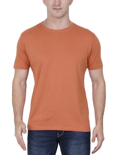 Plain Men's Saffron Half Sleeve Round Neck T-Shirt - DrunkenMonk