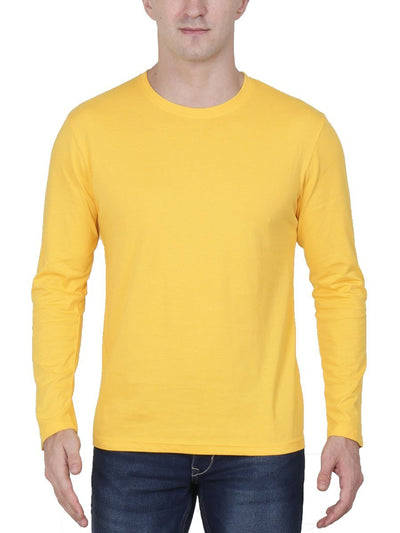 Plain Men's Yellow Full Sleeve Round Neck T-Shirt - DrunkenMonk