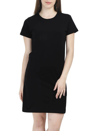 Plain Women's Black Half Sleeve T-Shirt Dress - DrunkenMonk