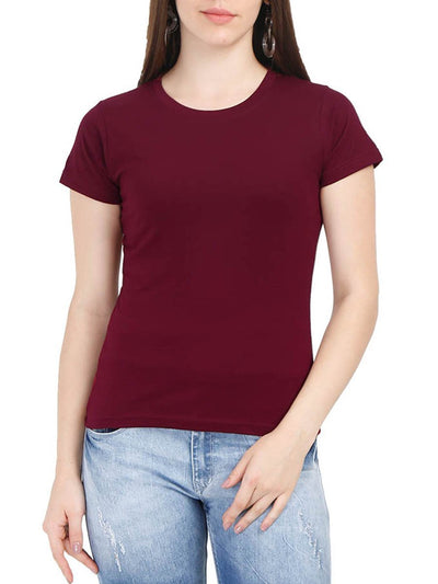 Plain Women's Maroon Half Sleeve Round Neck T-Shirt - DrunkenMonk