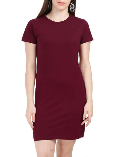 Plain Women's Maroon Half Sleeve T-Shirt Dress - DrunkenMonk
