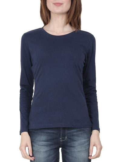 Plain Women's Navy Blue Full Sleeve Round Neck T-Shirt - DrunkenMonk