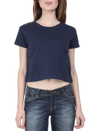 Plain Women's Navy blue Half Sleeve Crop Top - DrunkenMonk