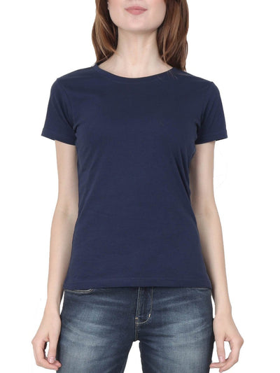 Plain Women's Navy Blue Half Sleeve Round Neck T-Shirt - DrunkenMonk