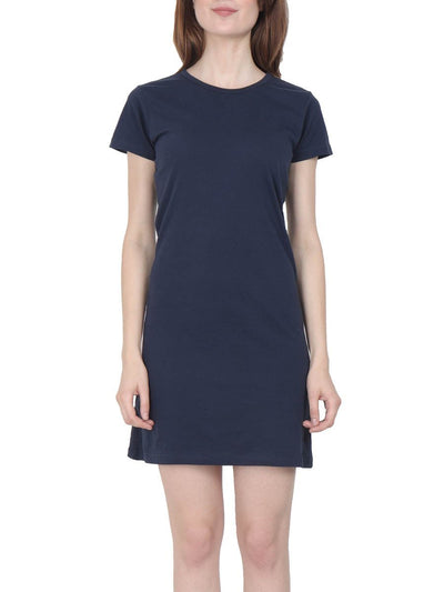 Plain Women's Navy Blue Half Sleeve T-Shirt Dress - DrunkenMonk