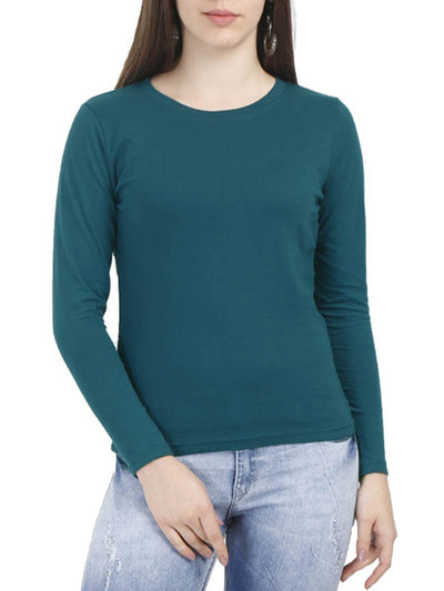 Plain Women's Petrol Full Sleeve Round Neck T-Shirt - DrunkenMonk