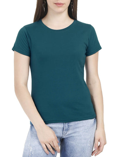 Plain Women's Petrol Half Sleeve Round Neck T-Shirt - DrunkenMonk