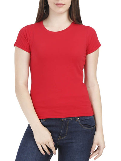 Plain Women's Red Half Sleeve Round Neck T-Shirt - DrunkenMonk