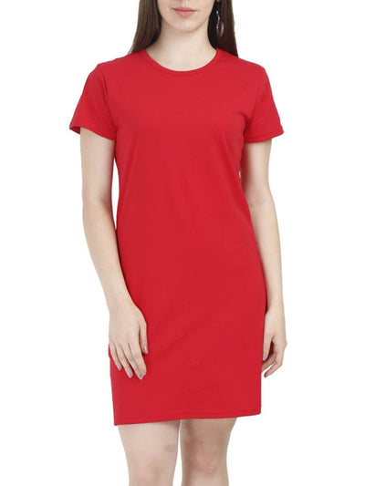 Plain Women's Red Half Sleeve T-Shirt Dress - DrunkenMonk