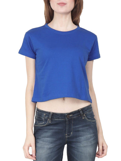 Plain Women's Royal Blue Half Sleeve Crop Top - DrunkenMonk