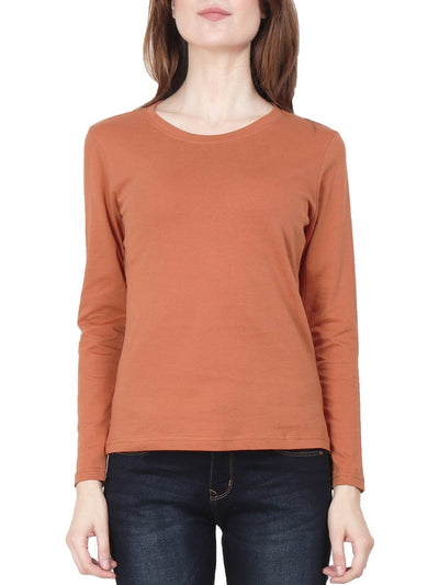Plain Women's Saffron Full Sleeve Round Neck T-Shirt - DrunkenMonk